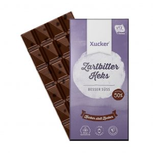 Vegane Zartbitterschokolade mit Kakaokeks + Xylit