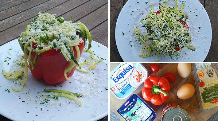 Leckere gefüllte Paprika mit Ei & Gemüse mit Zucchini-Nudeln