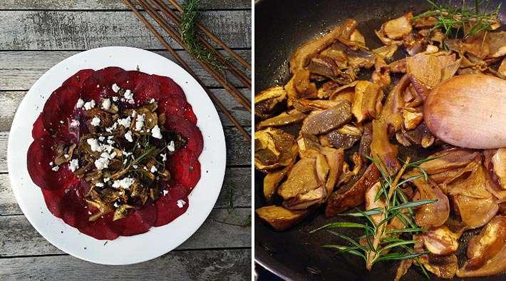 zum Rezept Rote Beete Carpaccio mit gebratenen Steinpilzen und Feta-Käse