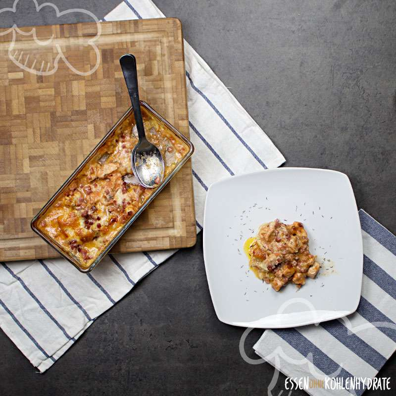 Low-Carb Mozzarella-Putengratin
