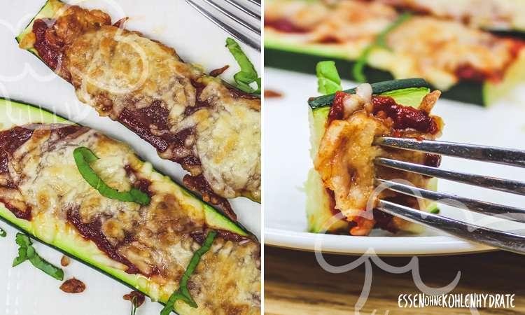 zum Rezept Low-Carb Zucchini-Pizza-Baguettes