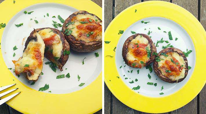 Leckere gebackene Champignons mit Bacon