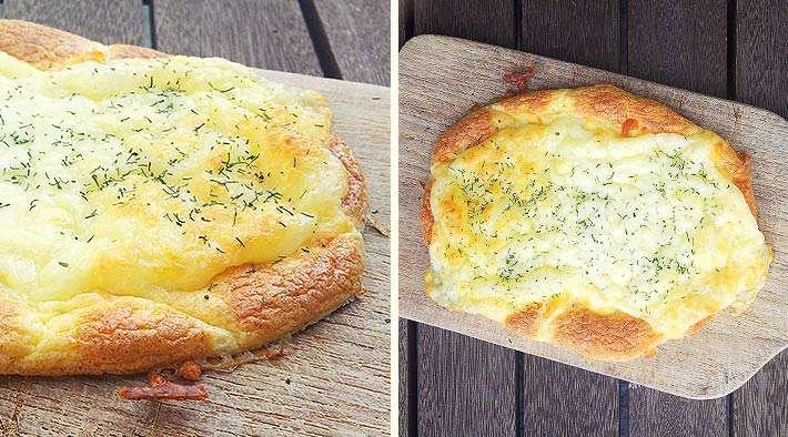 zum Rezept Überbackenes Mozzarella-Low-Carb-Fladenbrot