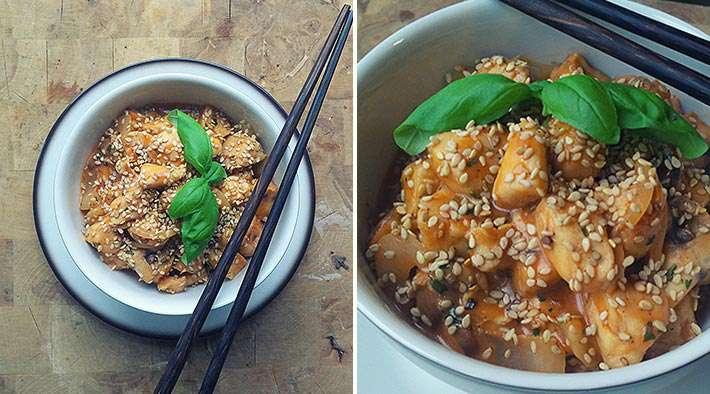 Asia-Hähnchenpfanne mit Sesam
