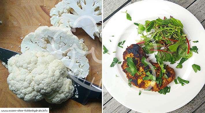 zum Rezept Low-Carb Blumenkohl-Schnitzel