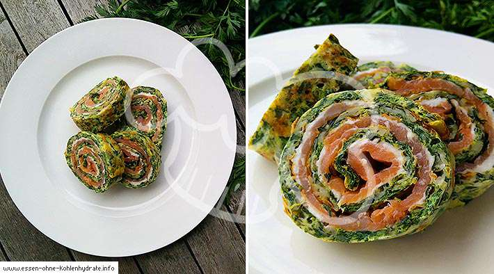 Low-Carb Lachs-Spinatrolle