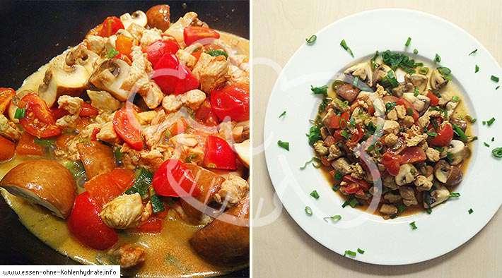 zum Rezept Puten-Champignonpfanne in leichter Tomatensoße