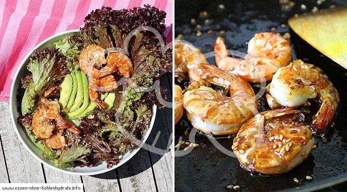 zum Rezept Leckerer Garnelen-Salat (Honig-Sesam)