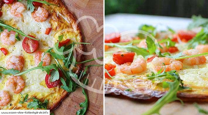 zum Rezept Low-Carb Pizza mit Garnelen