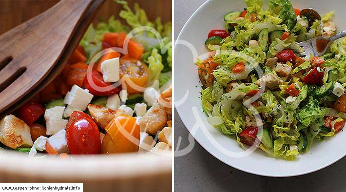 zum Rezept Leckerer gemischter Salat mit Hähnchenbrust