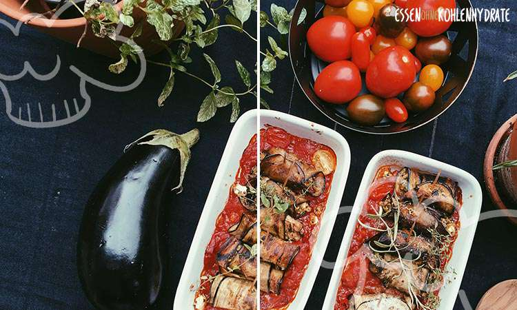 zum Rezept Quinoa-Feta Auberginenröllchen in Tomatensoße