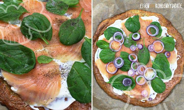 Spinat-Lachs Pizza