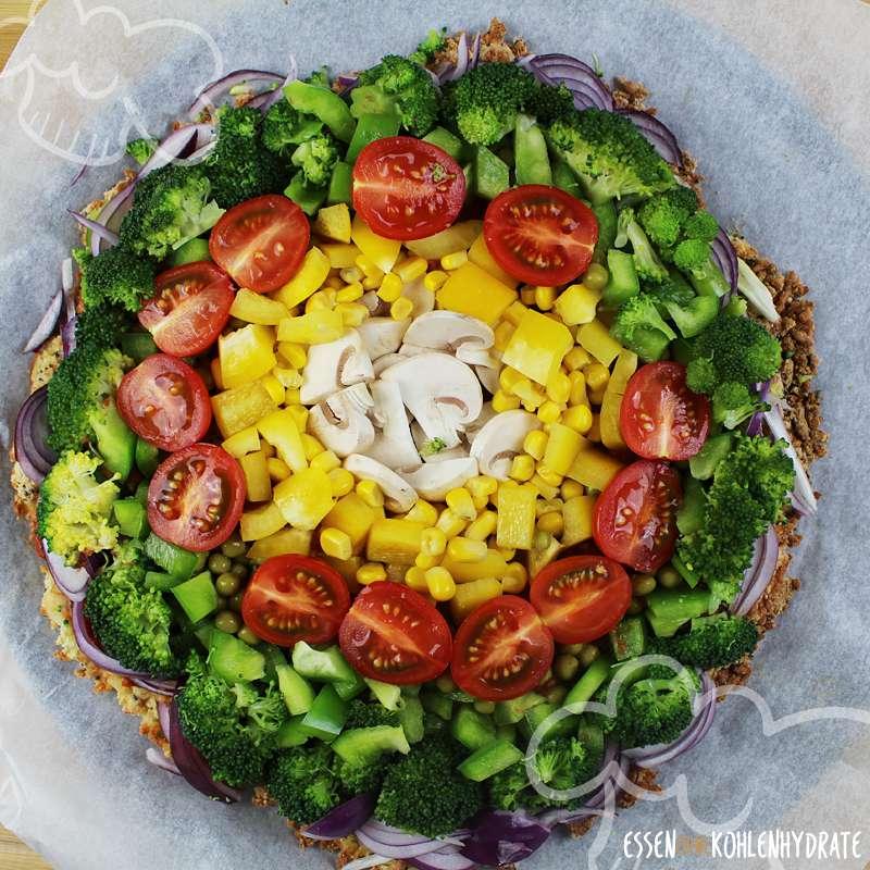 Low-Carb Pizza Vegetarisch Regenbogen