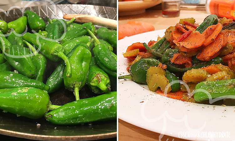 Mini-Pfannenpaprika (Pimientos) mit Gemüse