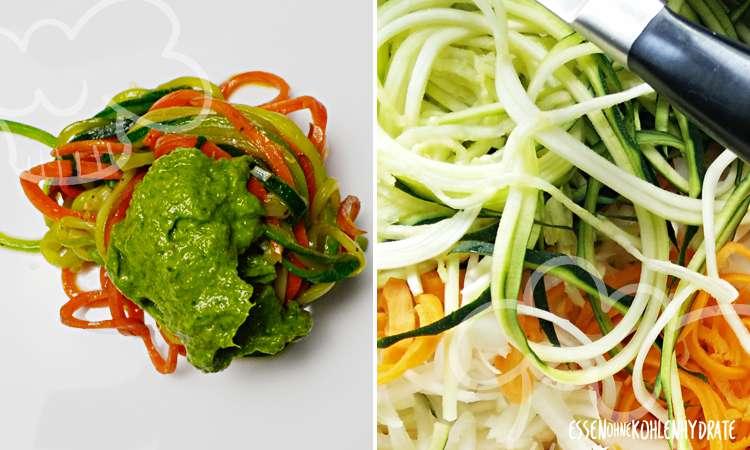 Zucchini/Möhrenspaghetti mit Rucolapesto