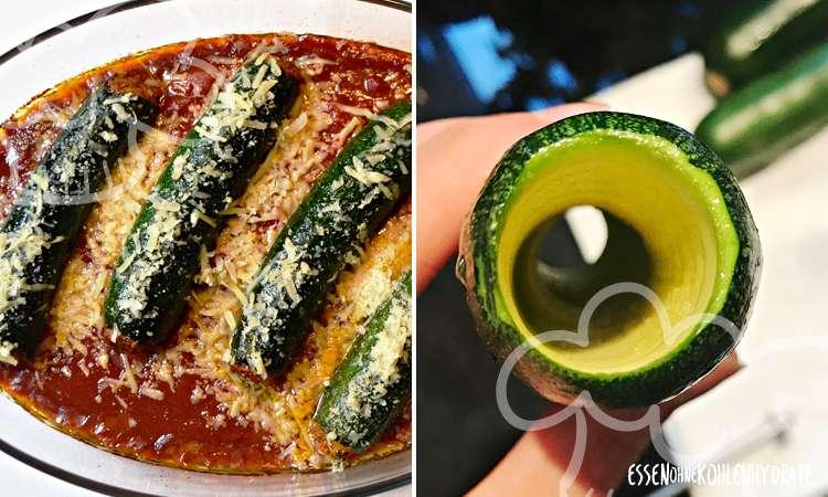 Zucchini-Cannelloni gefüllt mit Bolognese