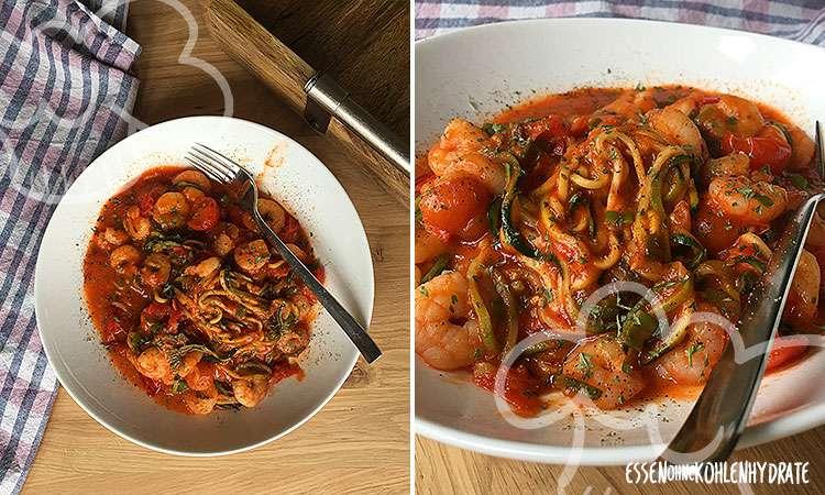 Einfache Tomaten-Garnelen-Pfanne mit Zoodles