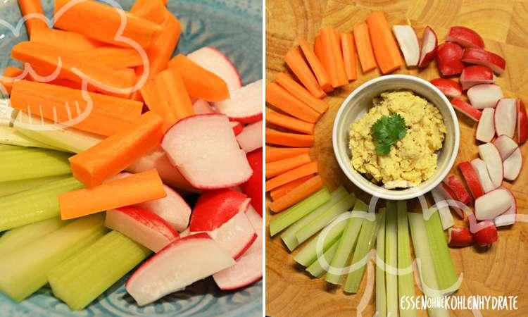 Gemüsesticks mit Hummus/Quark-Dip