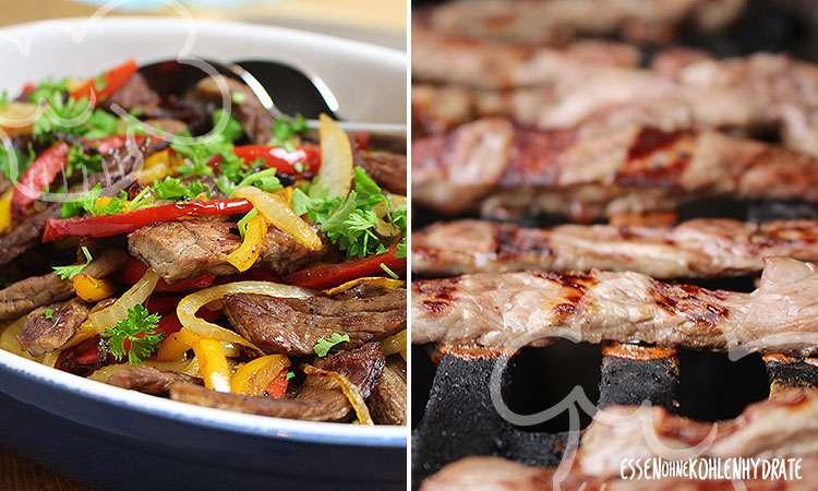 Gegrilltes Rindfleisch mit Gemüse