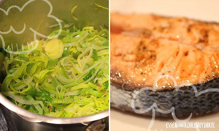 Lachs-Kotelette an Lauch-Sahnesoße