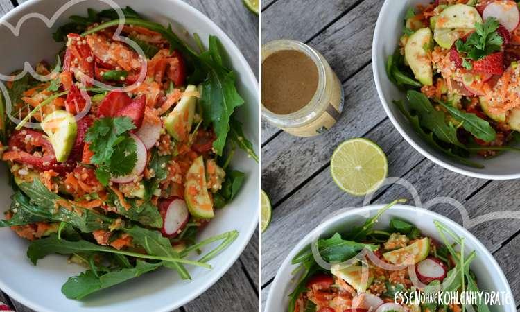 Bunte Salatbowle mit Tahini-Dressing