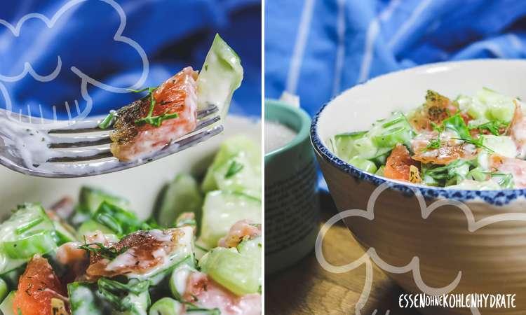 zum Rezept Gurkensalat mit Räucherlachs