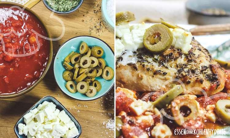 Feta-Hähnchen mit Oliven