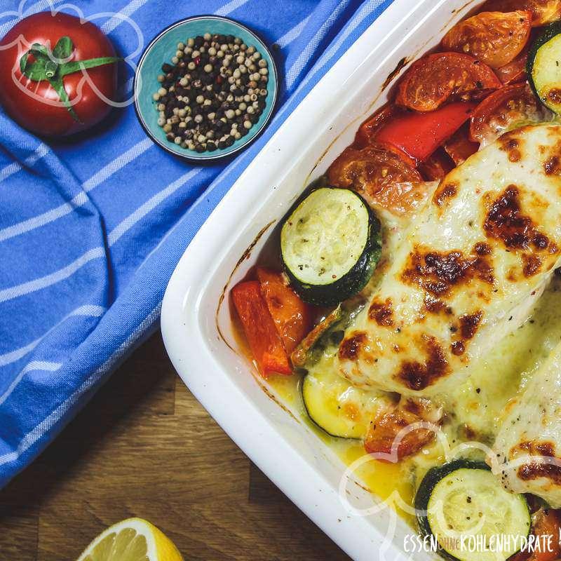 Mozzarella-Hähnchen mit Gemüse