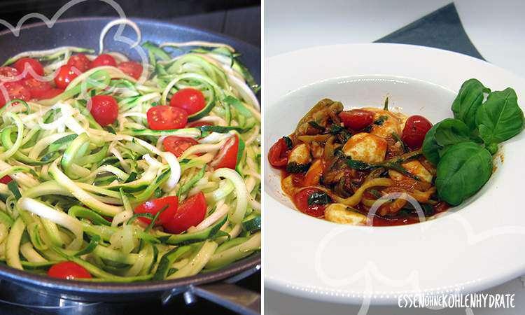 Zucchini-Noodels in Tomate-Mozzarella