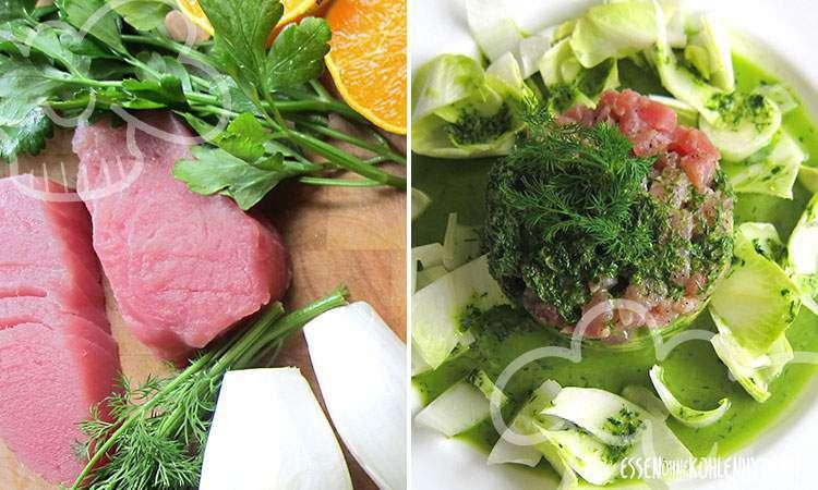 zum Rezept Thunfisch-Tatar mit Avocado und Chicoree