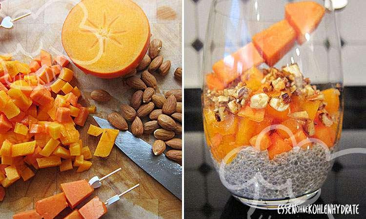 zum Rezept Chiapudding mit Kaki, Papaya & Mandelkruste