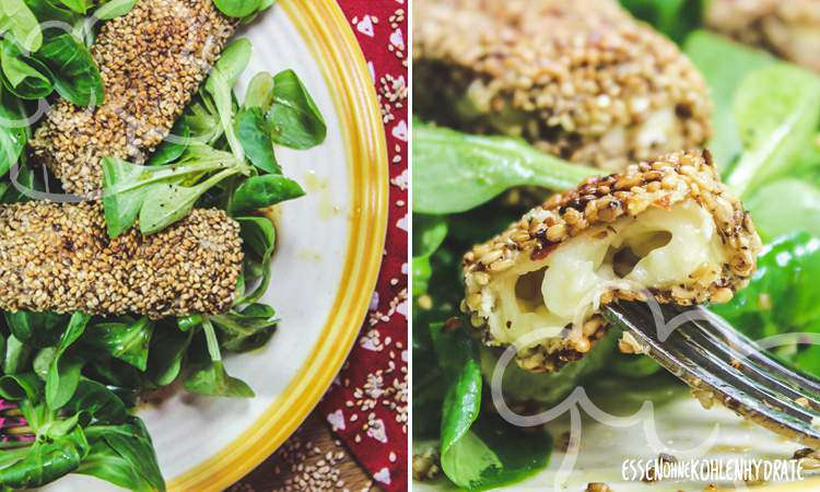 zum Rezept Feldsalat mit Sesam-Käse-Ecken