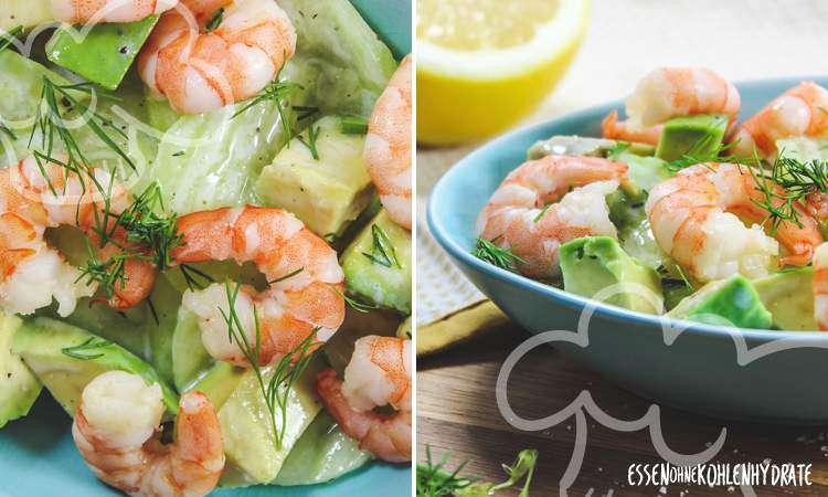 Avocado-Gurken-Salat mit Garnelen