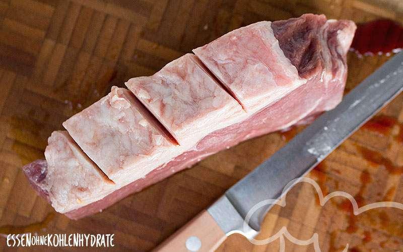 Eingeschnittener Fettrand vom Bison-Steak