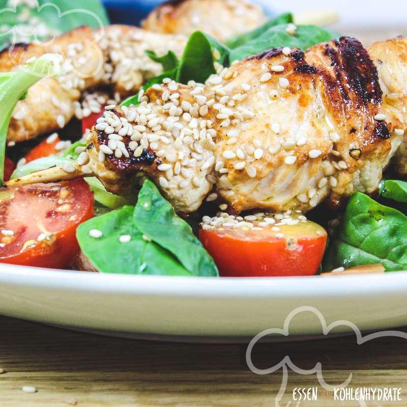 Salat mit Putenspießen