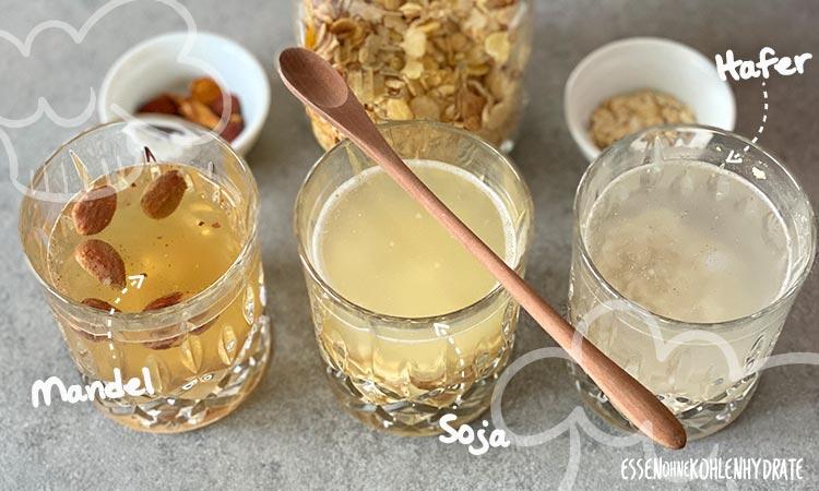 Gläser mit Milchersatz